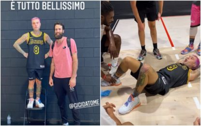 Fedez sfida Datome a basket: il video su Instagram
