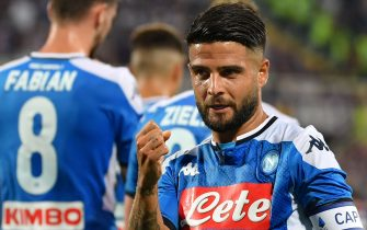 Napoli's Italian forward Lorenzo Insigne celebrates after scoring during the Italian Serie A football match Fiorentina vs Napoli on August 24, 2019 at the Artemio-Franchi stadium in Florence. (Photo by Andreas SOLARO / AFP)        (Photo credit should read ANDREAS SOLARO/AFP/Getty Images)