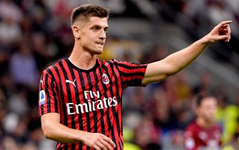 MILAN, ITALY - SEPTEMBER 29: Krzysztof Piatek of AC Milan  during the Italian Serie A   match between AC Milan v Fiorentina at the San Siro on September 29, 2019 in Milan Italy (Photo by Mattia Ozbot/Soccrates/Getty Images)