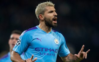 MANCHESTER, ENGLAND - OCTOBER 22: Sergio Aguero of Manchester City celebrates scoring his second goal during the UEFA Champions League group C match between Manchester City and Atalanta at Etihad Stadium on October 22, 2019 in Manchester, United Kingdom. (Photo by Visionhaus)