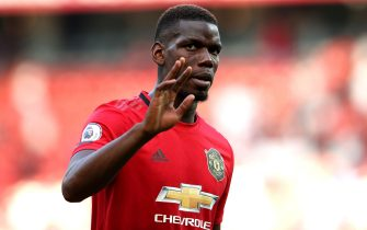 MANCHESTER, ENGLAND - AUGUST 24: Paul Pogba of Manchester United reacts during the Premier League match between Manchester United and Crystal Palace at Old Trafford on August 24, 2019 in Manchester, United Kingdom. (Photo by Jan Kruger/Getty Images)