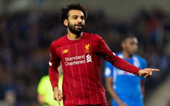 GENK, BELGIUM - OCTOBER 23: Mohamed Salah of FC Liverpool celebrates after scoring his team's fourth goal during the UEFA Champions League group E match between KRC Genk and Liverpool FC at Luminus Arena on October 23, 2019 in Genk, Belgium. (Photo by TF-Images/Getty Images)