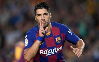 Barcelona's Uruguayan forward Luis Suarez celebrates acoring the opening goal during the Spanish league football match between FC Barcelona and Sevilla FC at the Camp Nou stadium in Barcelona on October 6, 2019. (Photo by Josep LAGO / AFP) (Photo by JOSEP LAGO/AFP via Getty Images)