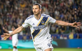 CARSON, CA - APRIL 28:  Zlatan Ibrahimovic #9 of Los Angeles Galaxy celebrates a goal that was disallowed during the Los Angeles Galaxy's MLS match against New York Red Bulls at the StubHub Center on April 28, 2018 in Carson, California.  Red Bulls won the match 3-2  (Photo by Shaun Clark/Getty Images)