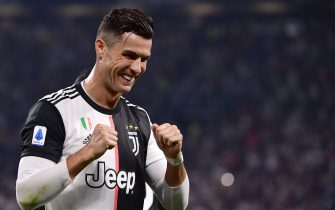Juventus' Portuguese forward Cristiano Ronaldo celebrates his team's opening goal during the Italian Serie A football match Juventus vs Napoli on August 31, 2019 at the Juventus stadium in Turin. (Photo by Marco Bertorello / AFP)        (Photo credit should read MARCO BERTORELLO/AFP/Getty Images)
