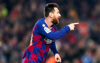 BARCELONA, SPAIN - OCTOBER 29: Lionel Messi of FC Barcelona celebrates a goal during the Liga match between FC Barcelona and Real Valladolid CF at Camp Nou on October 29, 2019 in Barcelona, Spain. (Photo by Quality Sport Images/Getty Images)