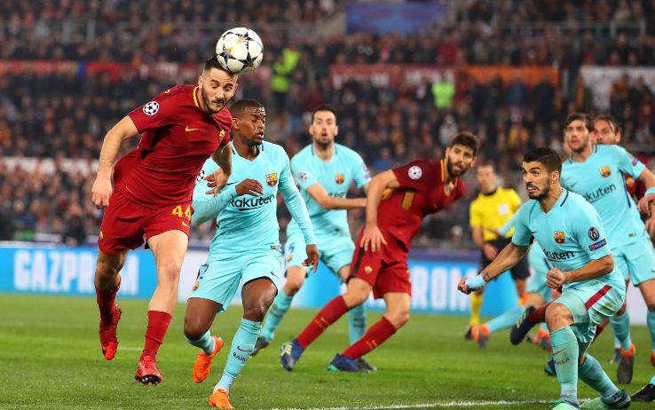 Il gol che completò la rimonta di Manolas in Roma-Barcellona 3-0