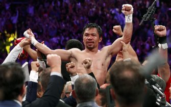 LAS VEGAS, NEVADA - JULY 20:  Manny Pacquiao celebrates his split decision victory over Keith Thurman in their WBA welterweight title fight at MGM Grand Garden Arena on July 20, 2019 in Las Vegas, Nevada.  (Photo by Steve Marcus/Getty Images)