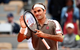 PARIS, FRANCE - MAY 26: Roger Federer of Switzerland celebrates victory during his mens singles first round match against Lorenzo Sonego of Italy during Day one of the 2019 French Open at Roland Garros on May 26, 2019 in Paris, France. (Photo by Clive Brunskill/Getty Images)