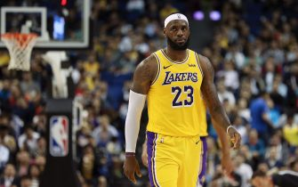 SHANGHAI, CHINA - OCTOBER 10:  LeBron James #23 of the Los Angeles Lakers reacts during a preseason game against the Brooklyn Nets as part of 2019 NBA Global Games China at Mercedes-Benz Arena on October 10, 2019 in Shanghai, China. NOTE TO USER: User expressly acknowledges and agrees that, by downloading and/or using this photograph, user is consenting to the terms and conditions of the Getty Images License Agreement. (Photo by Lintao Zhang/Getty Images)