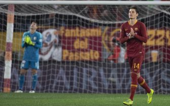 Roma's Patrik Schick jubilates after scoring the goal during the Italy Cup soccer match AS Roma vs Virtus Entella at the Olimpico stadium in Rome, Italy, 14 Januay 2019.   