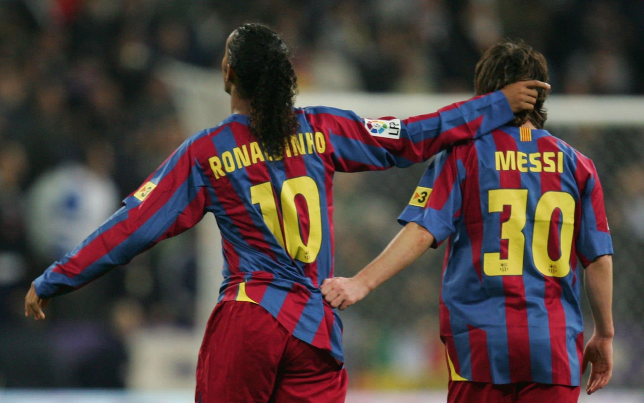 Ronaldinho e Messi nel 2006 al Barcellona