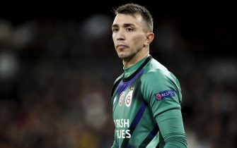 MADRID, SPAIN - NOVEMBER 6: Fernando Muslera of Galatasaray during the UEFA Champions League  match between Real Madrid v Galatasaray at the Santiago Bernabeu on November 6, 2019 in Madrid Spain (Photo by David S. Bustamante/Soccrates/Getty Images)
