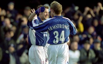 30 Dec 2000:  Ipswich celebrate Marcus Stewart's goal during the FA Carling Premier League match against Spurs played at Portman Road in Ipswich, England. Ipswich won the game 3-0. \ Mandatory Credit: Jamie McDonald /Allsport
