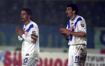 9 Dec 2000:  Roberto Baggio and Dario Hubner of Brescia during the match between Brescia v Napoli in the Serie A played at the  Rigamonti stadium, Brescia, Italy. Digital Image X Mandatory Credit: Grazia Neri/ALLSPORT