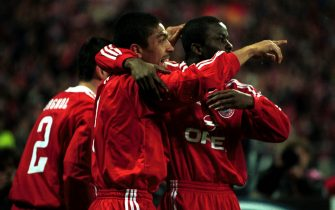 18 Apr 2001:   Giovane Elber of Bayern Munich celebrates scoring his early goal during the match between Bayern Munich and Manchester United in the UEFA Champions League Quarter Final, Second Leg at the Olympic Stadium, Munich, Germany. Mandatory Credit:Shaun Botterill/ALLSPORT