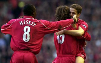 8 May 2001:  Michael Owen of Liverpool celebrates with Patrick Berger and Emile Heskey after scoring the first goal during the Liverpool v Chelsea FA Carling Premiership match at Anfield, Liverpool. Mandatory Credit: Clive Brunskill/ALLSPORT