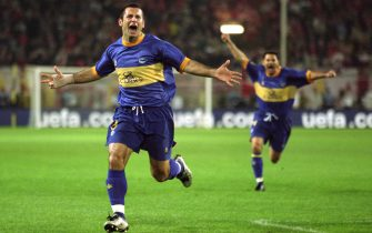 16 May 2001:  Javi Moreno of Alaves celebrates scoring during the UEFA Cup Final against Liverpool played at the Westfalenstadion, in Dortmund, Germany. Liverpool won the match 5-4 after extra-time and on the golden goal. \ Mandatory Credit: Gary M Prior/Allsport