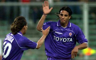 27 May 2001: Nuno Gomes of Fiorentina celebrates the goal with team mate Enrico Chiesa during the Serie A 30th Round League match between Fiortentina and Atalanta played at the Artemio Franchi Stadium Florence. DIGITAL CAMERA. Alessandro Rossini / SESTINI / GRAZIA NERI.  Mandatory Credit: Allsport UK/ALLSPORT