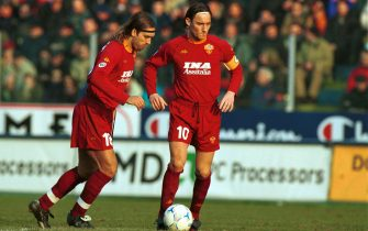 09 APR 2001: Gabriel Batistuta and Francesco Totti (R) of Roma during the SERIE A 25th  Round League match between Fiorentina and Roma, played at the Comunale stadium,  Florence .