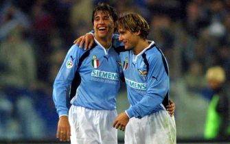 18 Mar 2001: Crespo and Nedved of Lazio in action  during the Serie A 23rd  Round League match between Lazio and Juventus played at the Olimpic Stadium Rome Italy . DIGITAL CAMERA  Mandatory Credit: Grazia Neri/ALLSPORT