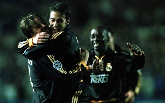 22 Nov 2000: Raul of Madrid celebrates with Guti after scoring the second goal during the Leeds United v Real Madrid UEFA Champions League Group D match at Elland Road, Leeds. Mandatory Credit: Michael Steele/ALLSPORT