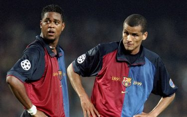 15 Mar 2000:  Patrick Kluivert and Rivaldo of Barcelona stand over a free-kick during the UEFA Champions League match against Hertha Berlin at the Nou Camp in Barcelona, Spain.  Barcelona won the match 3-1.   \ Mandatory Credit: Clive Brunskill /Allsport