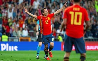 epa07639752 Spain's Mikel Oyarzabal celebrates after scoring the 3-0 lead during the UEFA EURO 2020 qualifying soccer match between Spain and Sweden at the Santiago Bernabeu stadium in Madrid, Spain, 10 June 2019.  EPA/RODRIGO JIMENEZ