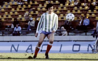 French footballer Michel Platini concentrates before kicking the ball during the World Cup first round soccer match between France and Hungary, on June 10, 1978 in Mar del Plata.  The start of the match was delayed for 45 minutes following the decision by Brazilian referee Arnaldo Coelho to ask the French team to play with a different jersey. Since the French team had forgotten to bring another set of jerseys, the players were forced to play with jerseys from a second division Argentinian club.        (Photo credit should read STRINGER/AFP via Getty Images)