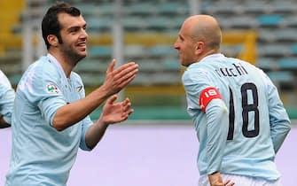 20080309     LAZIO LIVORNO ROMA - SPO - CALCIO: SERIE A; Rocchi (ds) e Pandev (sin) dopo il gol del raddoppio di pandev In Lazio Livorno all'Olimpico di Roma