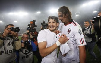 Players of Ac Milan, Pato (L) and Zlatan Ibrahimovic, celebrate after winning the Italian Serie A Championships at the end of the soccer match against As Roma at Olimpico stadium in Rome, Italy on 07 May 2011.