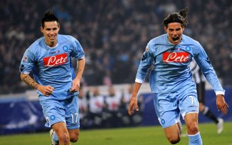 Edinson Cavani (R) of Napoli with Marek Hamsik (L) of Napoli jubilates after scoring during Serie A soccer match Napoli-Juventus at ''San Paolo'' stadium in Naples, on 9 January 2011. 