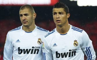 BARCELONA, SPAIN - NOVEMBER 29: Karim Benzema and Cristiano Ronaldo of Real Madrid during the La Liga match between Barcelona and Real Madrid at the Camp Nou Stadium on November 29, 2010 in Barcelona, Spain. (Photo by Manuel Queimadelos/DPPI)
