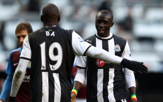 NEWCASTLE UPON TYNE, ENGLAND - FEBRUARY 05:  Goalscorers, Papiss Cisse and Demba Ba of Newcastle after the Barclays Premier League match between Newcastle United and Aston Villa at Sports Direct Arena on February 5, 2012 in Newcastle upon Tyne, England.  (Photo by Julian Finney/Getty Images)