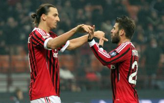 Ac Milan Swedish forward Zlatan Ibrahimovic celebrates with his teammate Antonio Nocerino (R) after scoring the 4-0 lead during the Serie A soccer match between Ac Milan and Chievo Verona at the Giuseppe Meazza stadium, Milan, Northen Italy, 27 November 2011. ANSA/MATTEO BAZZI