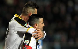 Udinese's forward Antonio Di Natale (R) and Udinese's forward Cyril Thereau (L) celebrates after scoring goal during the Italian serie A soccer match between Empoli FC vs Udinese Calcio at Carlo Castellani Stadium in Empoli, Italy, 26 January 2015