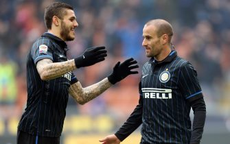 Fc Inter forward  Rodrigo Palacio (right) jubilates after scoring the goal  with his teammate Mauro Icardi during the Italian Serie A soccer match between  Fc Inter and Genoa  at Giuseppe Meazza stadium in Milan, 11 January 2015. 