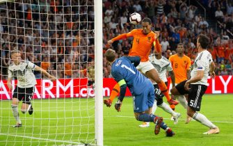 Germay goalkeeper Manuel Neuer, Virgil van Dijk of Holland, Jerome Boateng of Germany, Georginio Wijnaldum of Holland, Mats Hummels of Germany during the UEFA Nations League A group 1 qualifying match between The Netherlands and Germany at the Johan Cruijff Arena on October 13, 2018 in Amsterdam, The Netherlands(Photo by VI Images via Getty Images)
