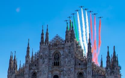 Omaggio delle Frecce Tricolori a Codogno e Milano