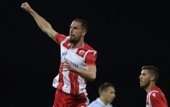 epa08453169 Red Star's Milos Degenek celebrates after scoring a goal during the Serbian SuperLiga soccer match between Rad and Red Star in Belgrade, Serbia, 29 May 2020. The Serbian SuperLiga resumes without spectators after a suspension because of the coronavirus pandemic.  EPA/ANDREJ CUKIC