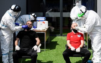 Kosovar football referees get tested for COVID-19 at the Fadil Vokrri Stadium in Pristina on May 30, 2020. - Since March 14, all sporting events have been postponed in Kosovo, due to the risk of the Coronavirus pandemic. (Photo by Armend NIMANI / AFP) (Photo by ARMEND NIMANI/AFP via Getty Images)