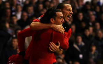 LONDON - FEBRUARY 02: Rio Ferdinand and Carlos Tevez of United celebrate the equalising goal of Tottenham during the Barclays Premier League match between Tottenham Hotspur and Manchester United at White Hart Lane on February 02, 2008 in London, England.  (Photo by Richard Heathcote/Getty Images)