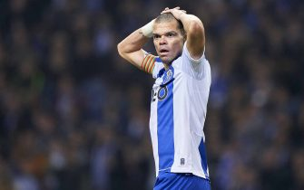 PORTO, PORTUGAL - FEBRUARY 08: Kepler Lima 'Pepe' of FC Porto reacts during the Liga Nos match between FC Porto and SL Benfica  at Estadio do Dragao on February 08, 2020 in Porto, Portugal. (Photo by Quality Sport Images/Getty Images)