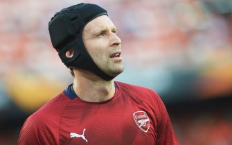 Peter Cech of Arsenal FC during the match between Valencia and Arsenal of Europa League semifinal second leg match. Mestalla Stadium. Valencia, Spain - 9 MAY 2019
