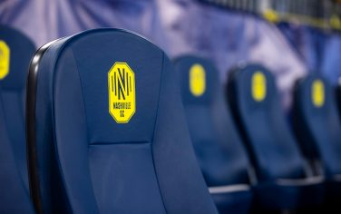 NASHVILLE, TN - FEBRUARY 29:  Detail view of Nashville SC logo on player seats before the match against the Atlanta United at Nissan Stadium on February 29, 2020 in Nashville, Tennessee. (Photo by Brett Carlsen/Getty Images)