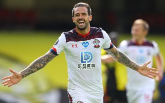 epa08514482 Danny Ings of Southampton celebrates after scoring the opening goal during the English Premier League match between Watford and Southampton in Watford, Britain, 28 June 2020.  EPA/Richard Heathcote/NMC/Pool EDITORIAL USE ONLY. No use with unauthorized audio, video, data, fixture lists, club/league logos or 'live' services. Online in-match use limited to 120 images, no video emulation. No use in betting, games or single club/league/player publications.
