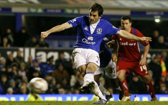 Everton's Leighton Baines scores his sides third goal of the game from the penalty spot