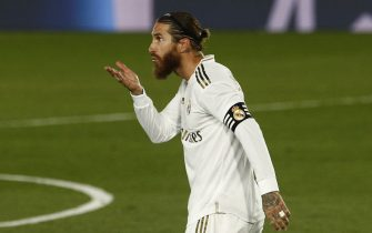 Sergio Ramos of Real Madrid celebrates after scoring the 2-0 during the La Liga match between Real Madrid and RCD Mallorca played at Alfredo Di Stefano Stadium on June 24, 2020 in Madrid, Spain.