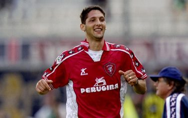 18 Sep 1999:  Marco Materazzi of Perugia celebrates his goal during the Italian Serie A match between Perugia and Cagliari played at the Stadio Renato Curi, Perugia, Italy. The game finished in a 3-0 win for Perugia. \ Mandatory Credit: Claudio Villa /Allsport