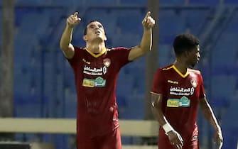 epa08647125 Damac player Emilio Jose Zelaya (L) celebrates a goal during the Saudi Professional League soccer match between Al-Ettifaq and Damac, in Dammam, Saudi Arabia, 04 September 2020.  EPA/STR